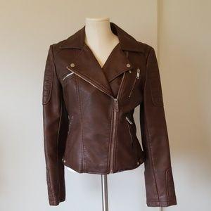 Zara Vegan Brown Motorcycle Jacket size large